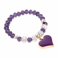 Graceful Purple Natural Crystal Beads Bracelets For Women Sweet Heart Pendant Elastic Bracelet&Bangles Wholesale Retail(China)