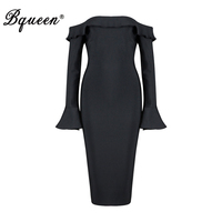 Bqueen 2017 New Sexy Off Shoulder Slash Neck Knee Length Ruffles Dress Fashion Flare Sleeve Autumn