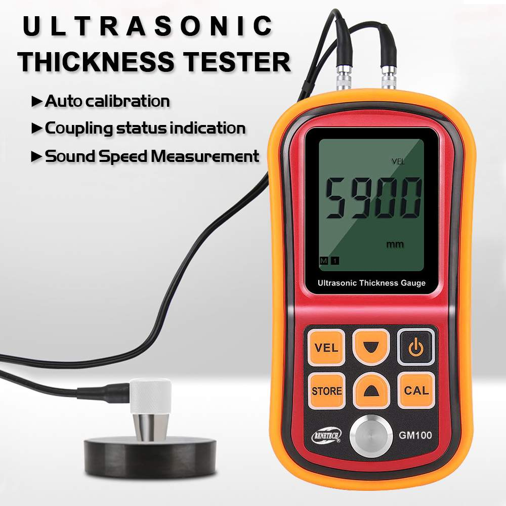 GM100 Digital LCD Display Ultrasonic Thickness Gauge Metal Testering Measuring Instruments 1.2 to 200MM Sound Velocity Meters