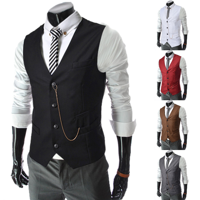 New! Hot! 2016 Vintage Men's Suit Vest Male Metal Chain Decoration Slim Business Casual Vest