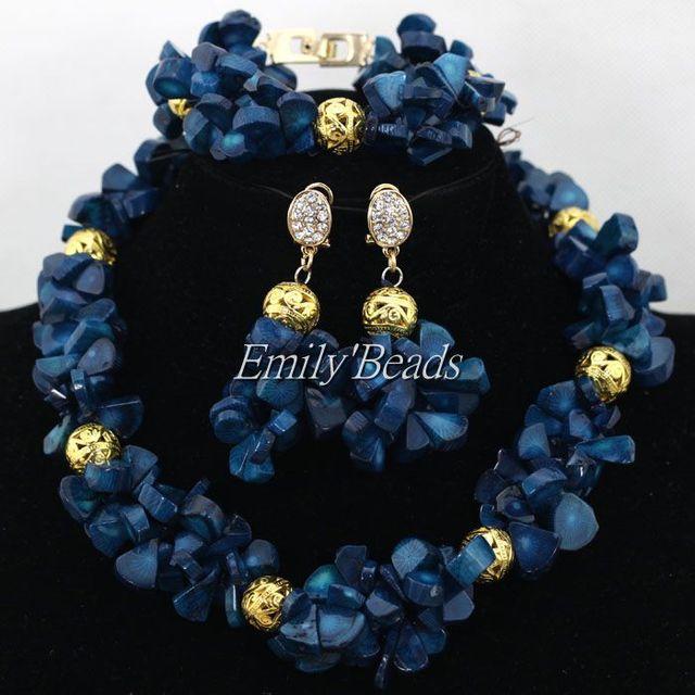 Traje africana cuentas de Coral collar pulsera joyería de los pendientes azul marino nigeriano boda joyería fija el envío gratis CJ607