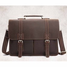 YISHEN New Fashion Genuine Leather Vintage Style Crazy Horse Leather Messenger Laptop Briefcase Satchel Bag for Men BFL-0203