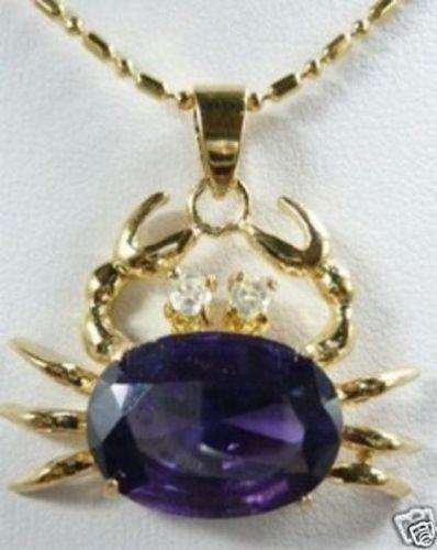 beautiful purple zircon Crab Pendants Necklace
