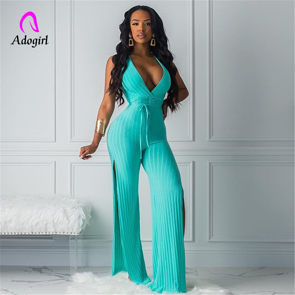 Adogirl Sexy Side Split Jumpsuit Women 2019 Deep V Neck Rompers Summer Night Out Club Outfits Solid Neon Ribbed Knitted Jumpsuit