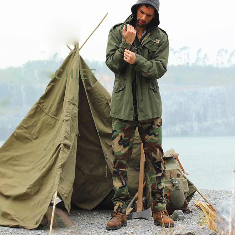 2018 tactique Cargo Long pantalon 65/35 Ripstop professionnel boisé pantalon tactique FG fer noir militaire pantalon homme Camouflage