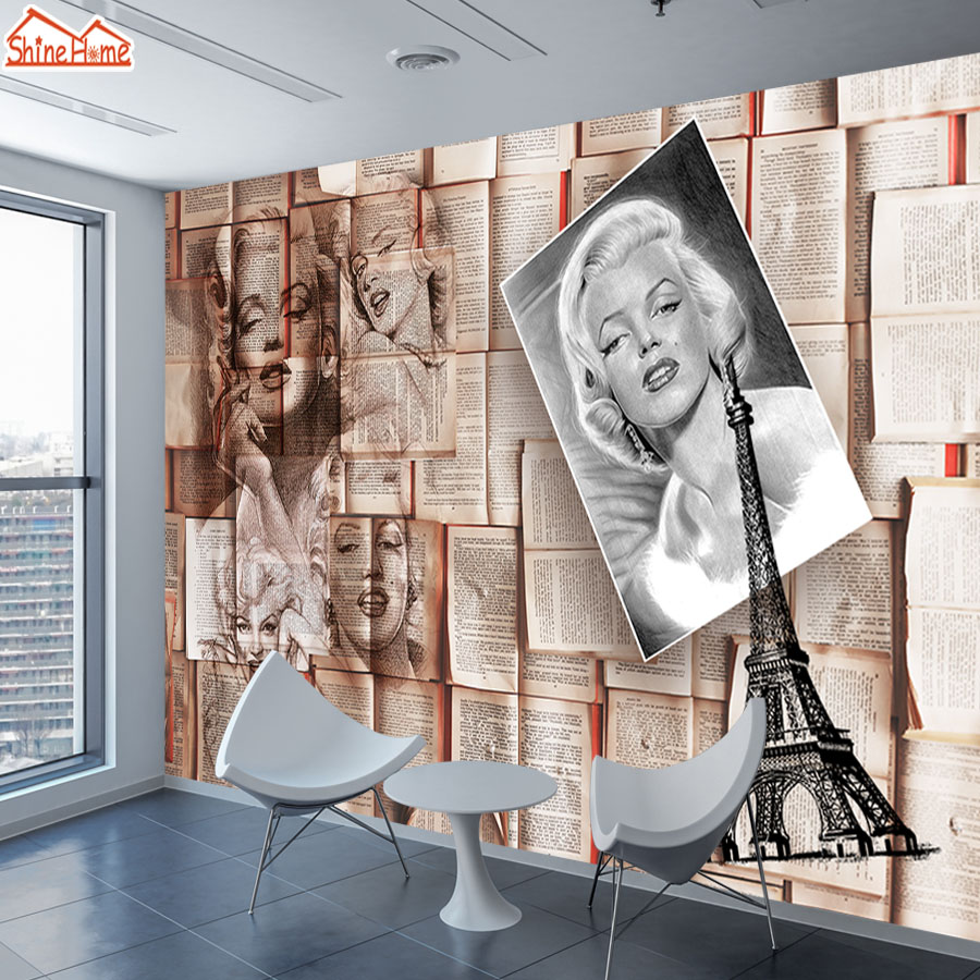 3 D Murals Wallpapers Photo Wallpaper For Walls Paper 3d On Wall Papers Home Decor Living Room Bedroom Marilyn Monroe Cafe Art