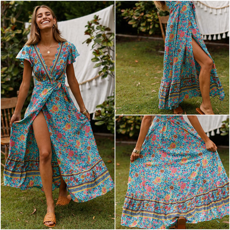 Nadafair Vintage Floral Maxi Dresses Elegant Beach Sash Sexy V Neck Split Print Tunic Long Summer Boho Dress Women Vestidos 4