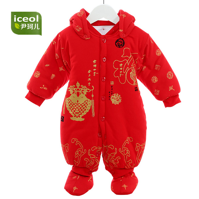 Baby Romper Thicken Hat 100% Cotton 2017 Autumn Lucky Red Full Sleeve Girl Boy Baby Clothing Newborn Infant Jumpsuit Rompers baby romper thicken hat 100% cotton 2017 autumn lucky red full sleeve girl boy baby clothing newborn infant jumpsuit rompers