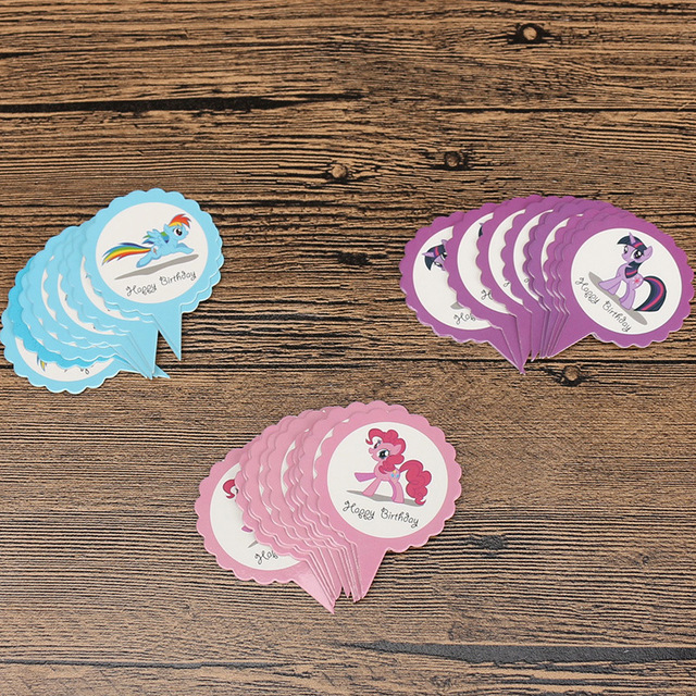50pcs Lot My Little Pony Cupcake Cake Topper Picks Cartoon Theme Happy Birthday Party Decorations Kids Favors