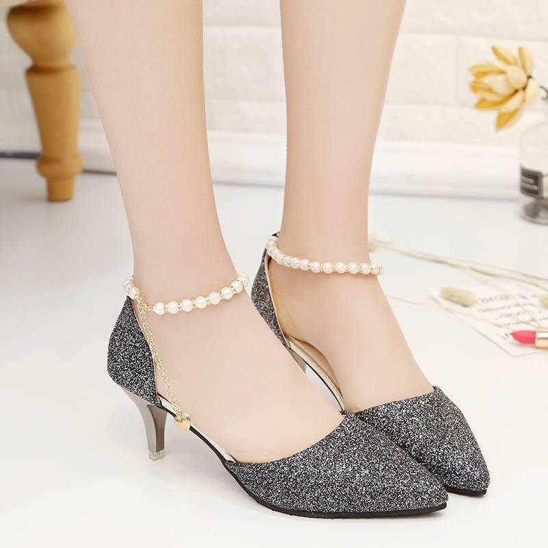 Shinning Glitter Stiletto ลูกปัดงานแต่งงานทองรองเท้าผู้หญิงปั๊มรองเท้ารองเท้าส้นสูง 2019 เซ็กซี่ Pointed Toe Party รองเท้า