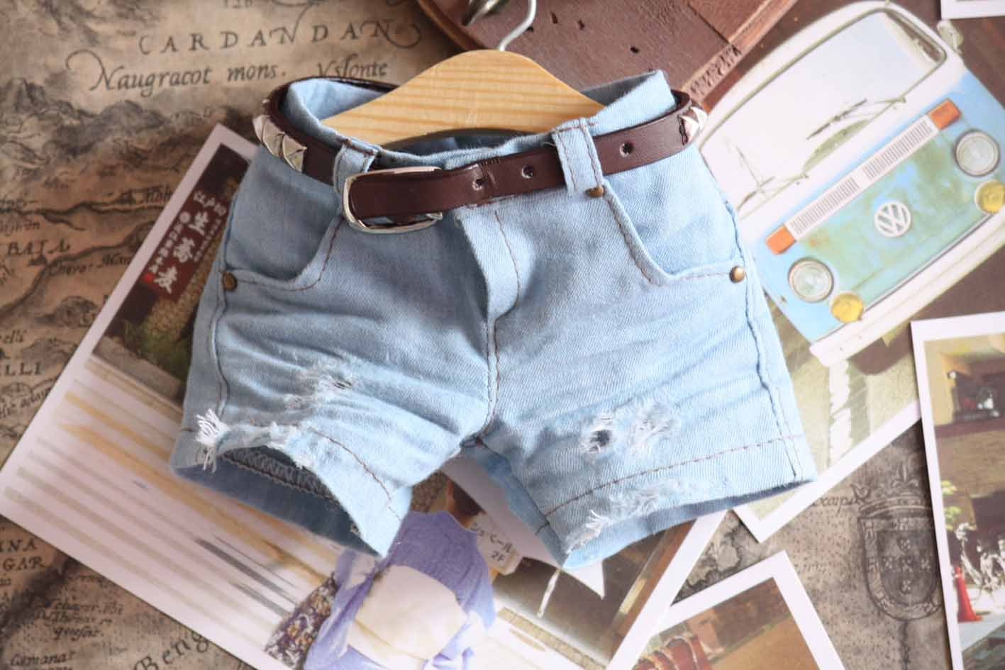 Free Shipping,1/3 1/4 bjd clothes hole retro denim shorts sd handsome grey woolen coat belt for bjd 1 3 sd10 sd13 sd17 uncle ssdf sd luts dod dz as doll clothes cmb107