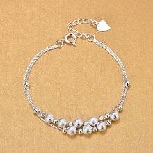 Женские браслеты с бусинами ручной работы из стерлингового серебра
