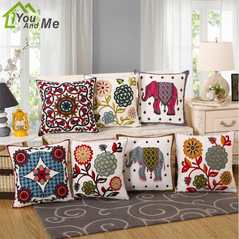 45x45cm Flower Elephant Pattern Embroidery Cotton Car Sofa Cushion Cover Decorative Throw Pillow Case Home Decor