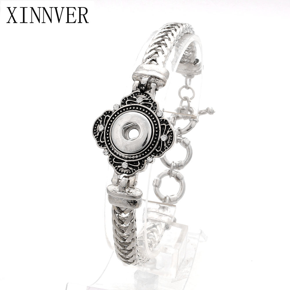Fashion Antique Silver Color <font><b>Snap</b></font> <font><b>Buttons</b></font> Bracelets Crystal Adjustable Bangles Metal Chain Fit <font><b>12mm</b></font> Xinnver <font><b>Snap</b></font> <font><b>Jewelry</b></font> ZE302 image