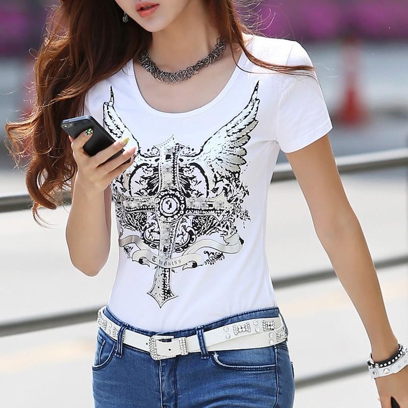 Women Angel Wing Punk Rock Short Sleeve T Shirt Lace Patchwork Slim Blouse Tops