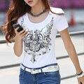 Moda camiseta de Las Mujeres Volver Alas Del Ángel Imprimir Tapas de La Camiseta Del Estilo Del Verano Mujer Camisetas de Manga Corta camisetas de la Ropa CS27