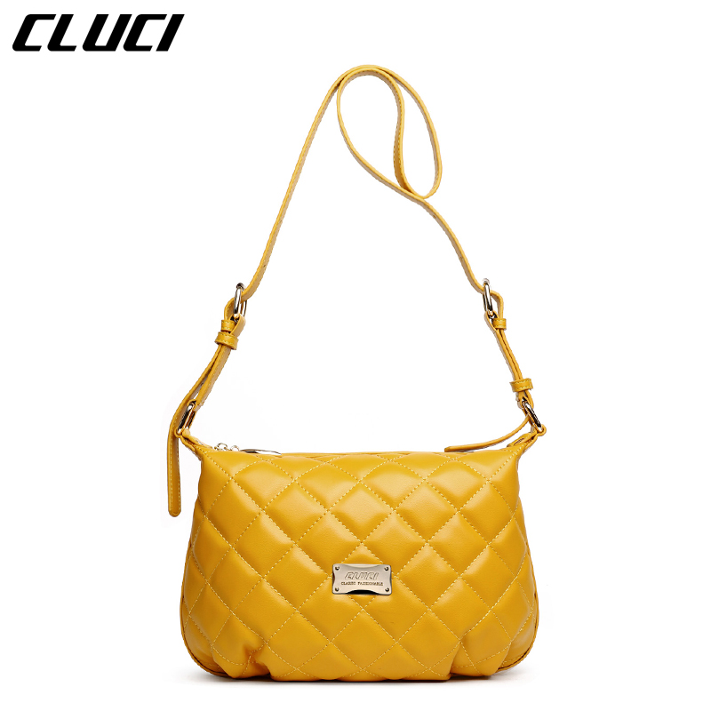 ФОТО CLUCI Women's Shoulder Bags Fashion Split-leather Plaid Black/Yellow Hobo Mini Zipper Crossbody Bag Small Messenger Bags