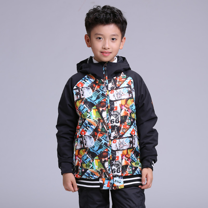 Gsou snow new children cool skateboard ski suit boys outdoor sport waterproof warm windproof hiking snow jacket luminox master carbon seal 3800 series xs 3803 c