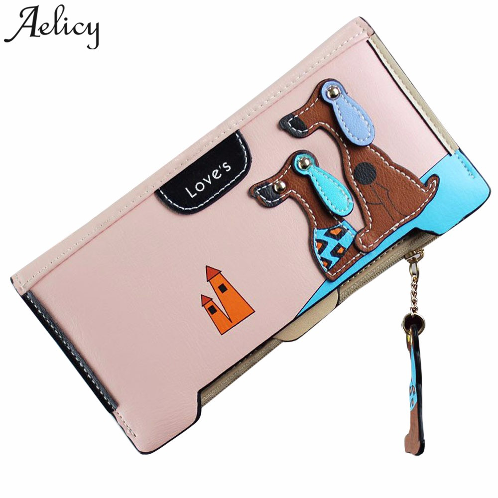 Aelicy Hot sale Women Stitching Puppy Dog Zipper Coin Purse Long Wallet Card Holders Cha ...