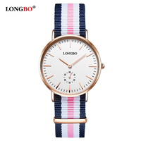 LONGBO Women Luxury Casual Analog Wrist Watches NATO Nylon Watchband Girl Geneva Quartz Clock Big Dial