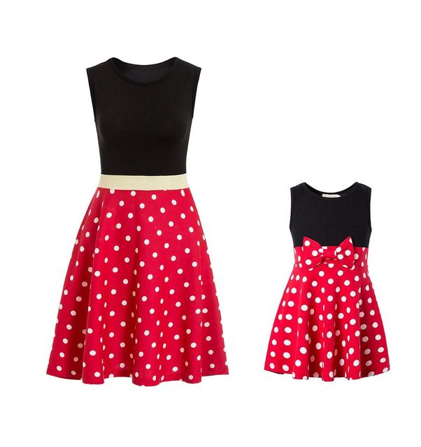 Adult Size Mommy Princess Dress Minnie Mommy and Me Matching Family cosplay Plus size Costume Women's princess dress polka Dots 1