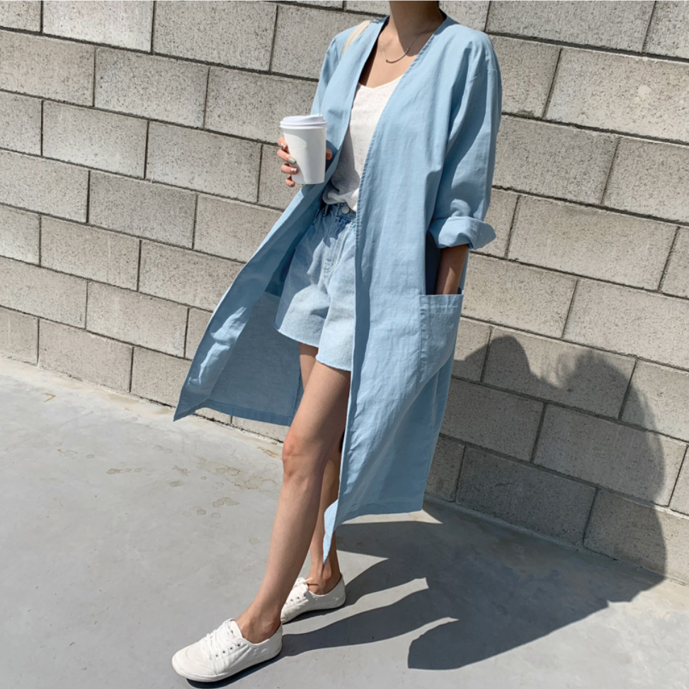 Korean Plus Size New   Trench   Coat Women Long Cotton Linen Sun Protection Clothing Female Autumn Thin Over Knee Cardigan Outwear