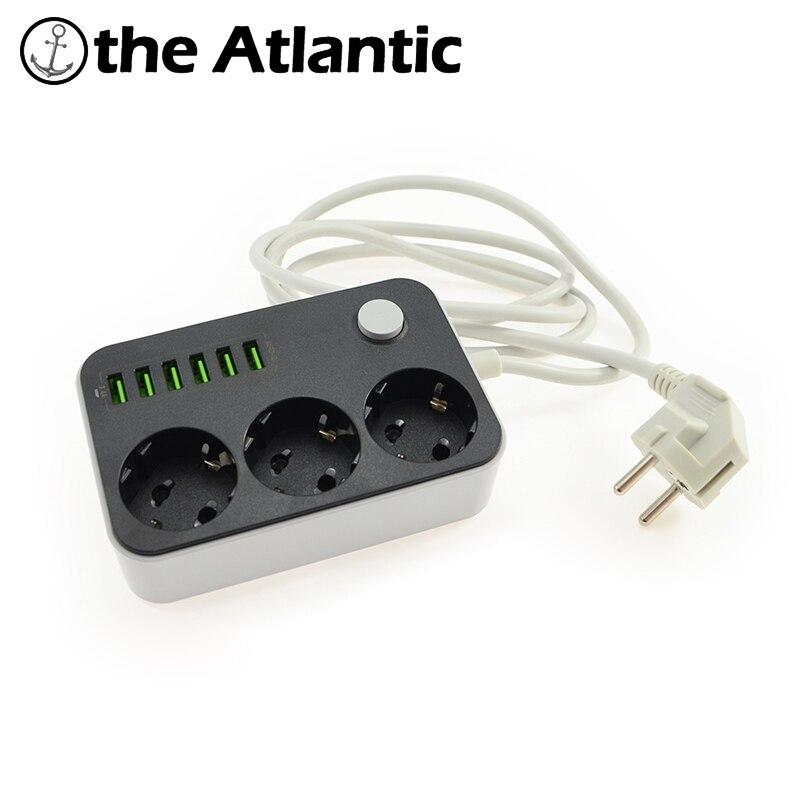 Hot 3 tira tomada 6 USB adaptador de parede de energia DA UE carregador doca 5 V 3.4A surge protector faixa de extensão para a câmera do telefone casa