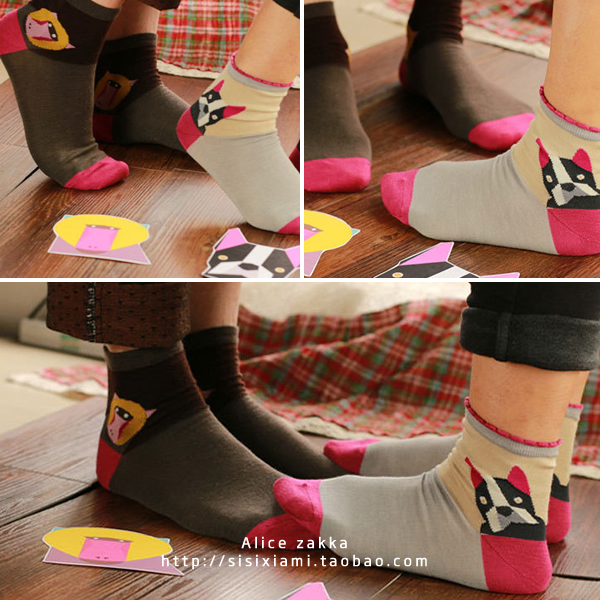 Cloth Sock Slippers Short Socks Personalized Animal Color Block Combed Cotton Female Socks