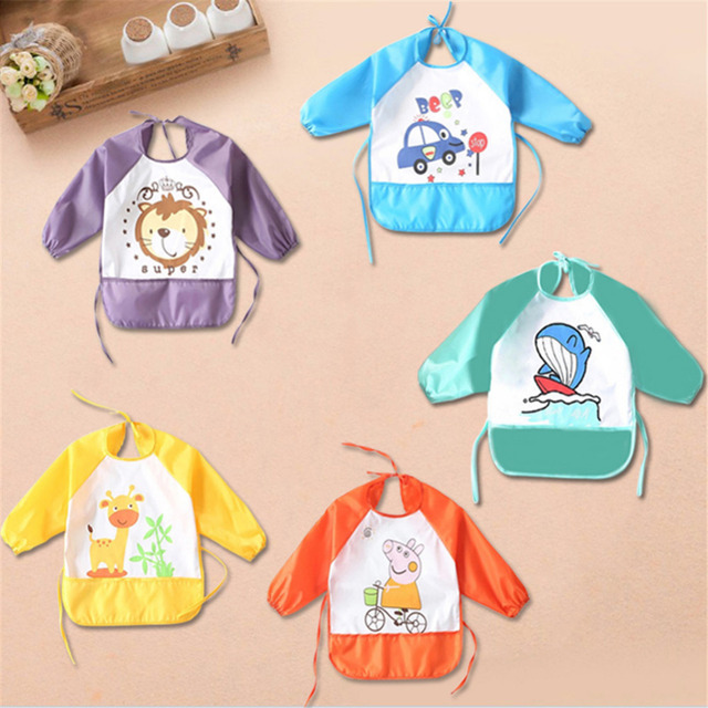 Baby Feeding Bibs Baby Sleeved Bib Children Waterproof Overclothes Cartoon Children Eating Accessory