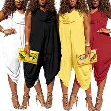 Женские модные, пикантные без рукавов с круглым вырезом цельные штаны комбинезон плюс Размеры