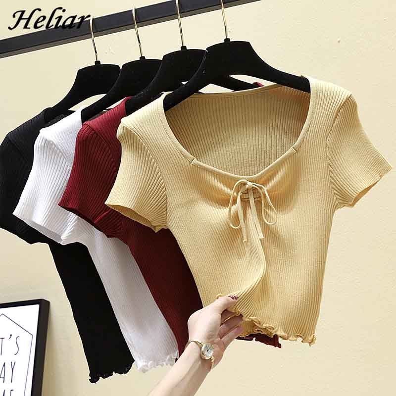HELIAR Female Drawstring O-Neck T-shirt Summer Short Sleeve Knitting Casual Street Outwear Camiseta Feminina TEE For Women Tops