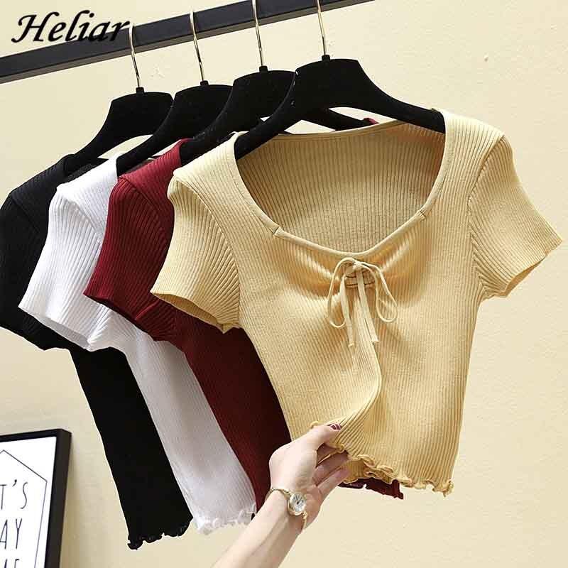 HELIAR Women Drawstring O-Neck T-shirt Women Summer Short Sleeve Knitting Casual Street Outwear Female TEE For Women Tops