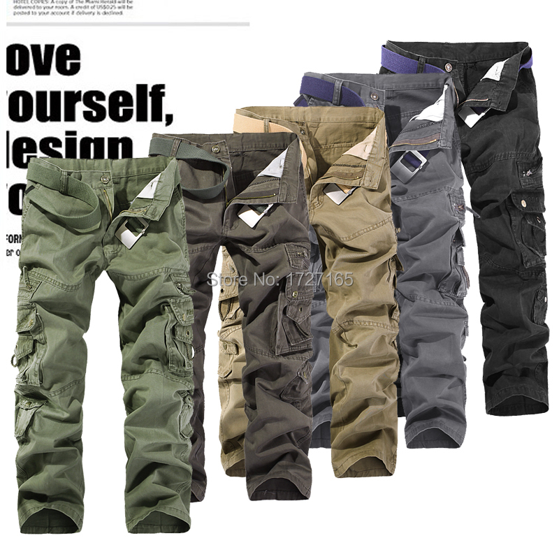 2015 Fashion Military Cargo Pants Multi pocket Men Cotton Solid Sport Tactical Training Army Men's Clothing - M store
