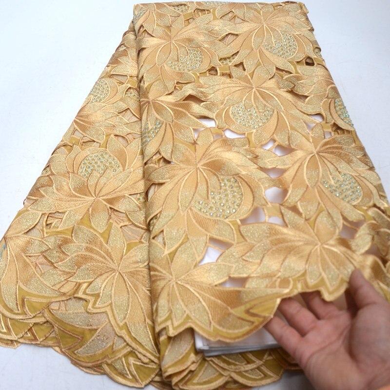 الذهب جودة عالية السويسري فوال دانتيل في سويسرا 100% القطن قطع اليد الدانتيل الأفريقي النسيج النيجيري رجل الفوال الدانتيل 5 ساحات QG867-في دانتيل من المنزل والحديقة على  مجموعة 1