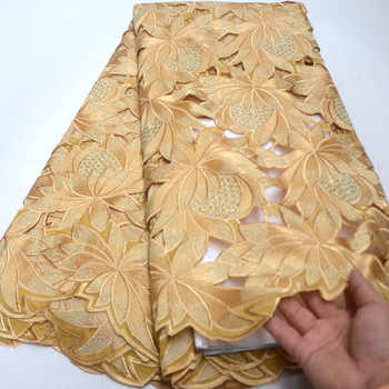 Gold High Quality Swiss Voile Laces In Switzerland 100%Cotton Hand-cut African Lace Fabric Nigerian Man Voile Lace 5Yards QG867 - DISCOUNT ITEM  10% OFF All Category