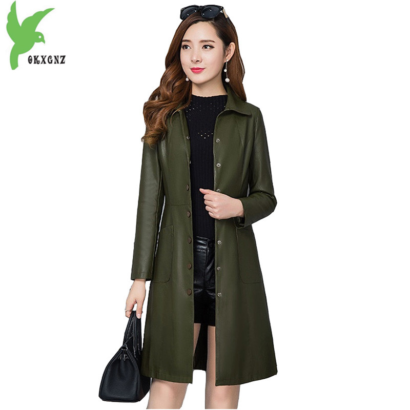 New Spring   Leather   Jacket Women 2018 fashion Plus size PU   leather   coat Medium length Slim female Casual top Outerwear OKXGNZ1694