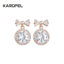 Dazzling Bowknot Cubic Zircon Drop Earrings for Bridal Fashion Rose Gold Color Round Crystal Wedding Jewelry blucome brand design rose gold color square cubic zircon ceramic earrings ring set chinese porcelain women wedding jewelry sets