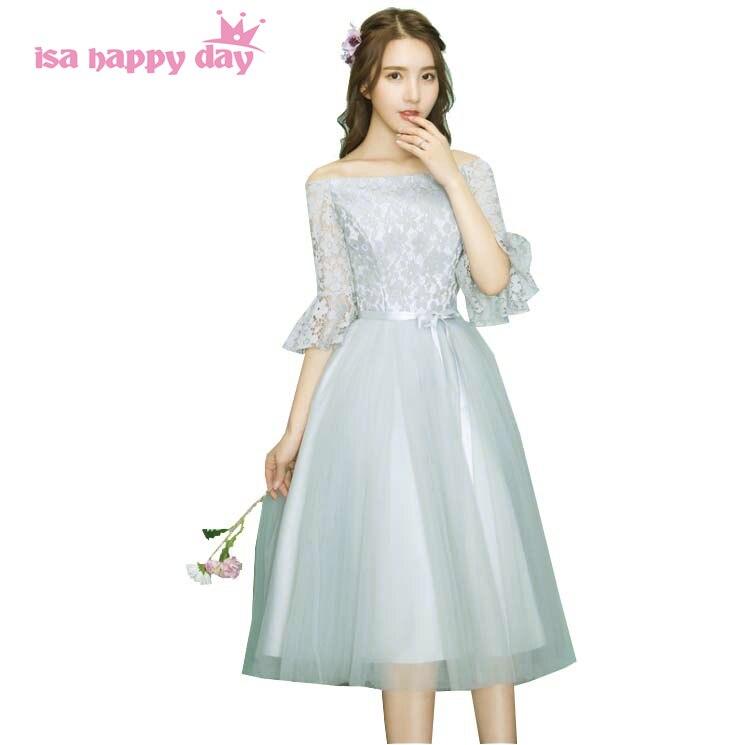 ce008b6ed35 Off schulter frauen elegante frauen tee länge ärmeln grau abend party kleid  kleider für besondere anlässe