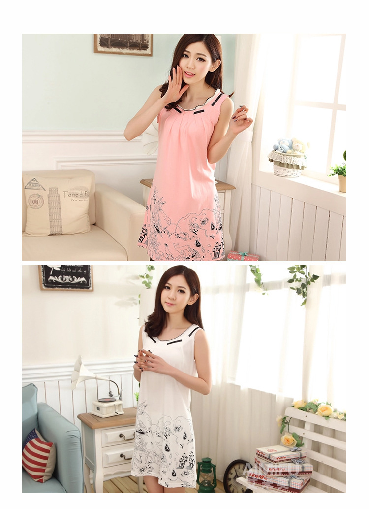 yauamdb women nightgown 2016 summer woman sleepwear cotton ... 94e56fad9