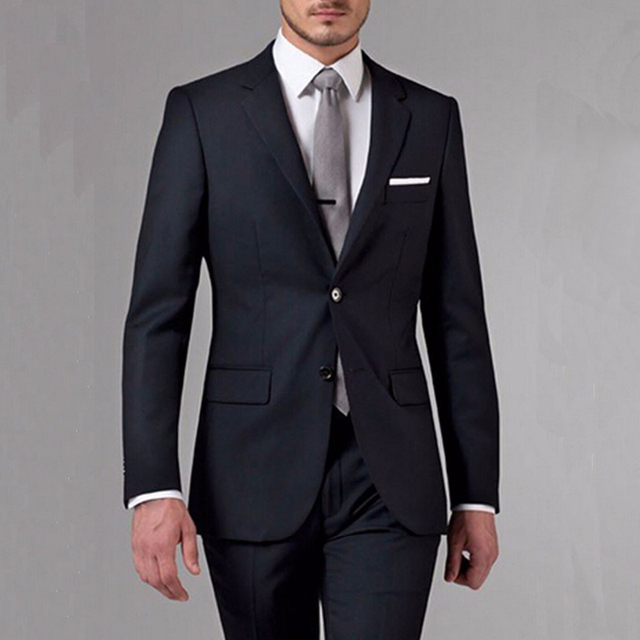 302a19dcc3 Black Men Suits Three Piece Notched Lapel Two Button Custom Made Wedding  Groom Tuxedos 2017 (Jacket + Pants )