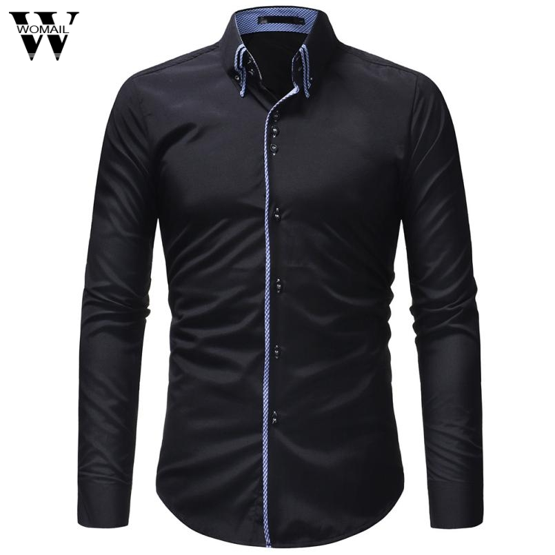Womail Men S Autumn Casual Formal Slim Button Down Long