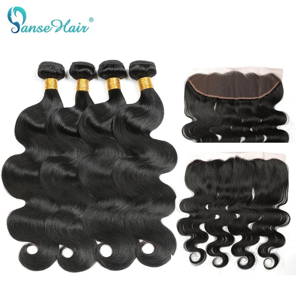 Panse Hair Peruvian Hair 4 Bundles Body Wave Hair With A 13*4 Lace Frontal Non Remy Hair 100% Human Hair Extension Can Be Dyed