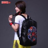 2018 новый национальный ветер Для женщин рюкзаки из натуральной кожи женская сумка большая емкость вышитый безразмерный дорожная сумка