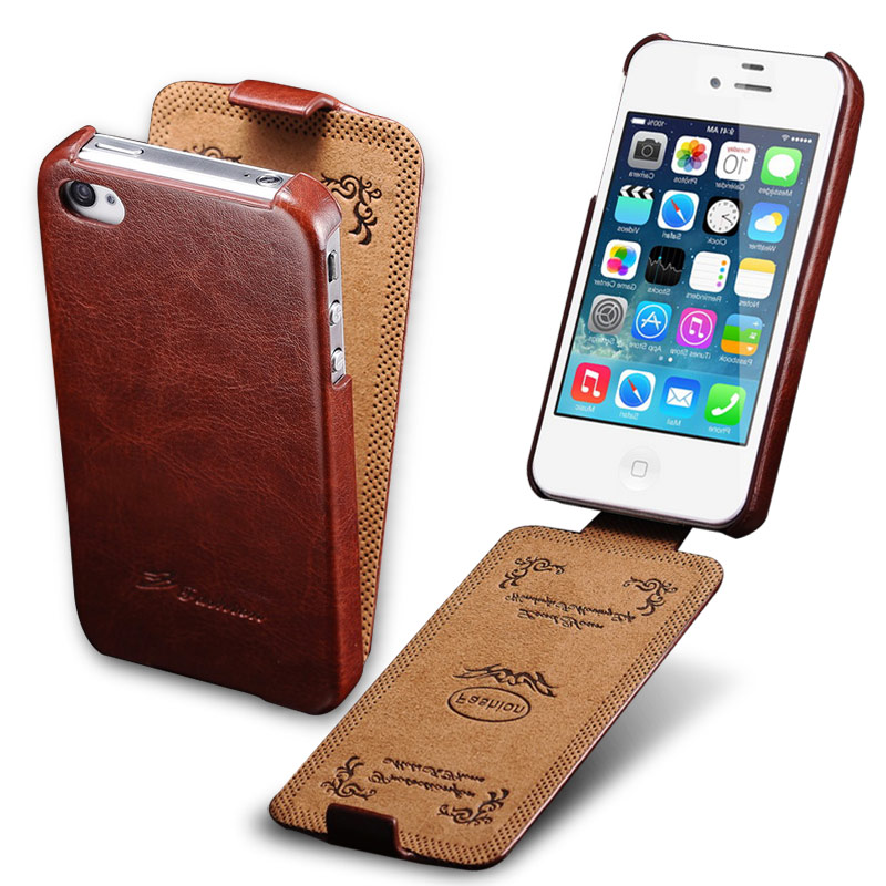 half off d48be 4fc65 Flip Cover Case For iPhone 4 4S PU Leather Cover Phone Bag Coque For ...