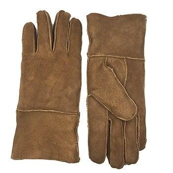 Winter Warm Woolen Mittens Sheepskin Leather Wool Fur Sub Finger Gloves Men Lady