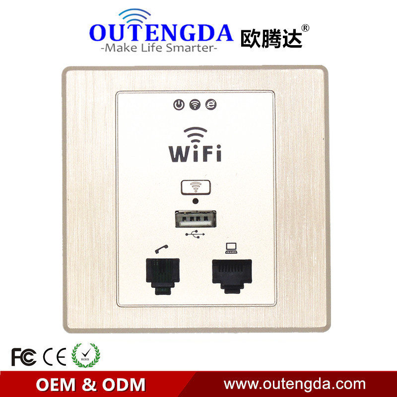 OUTENGDA WPL6058 Drawing Gold Panel Indoor 86 Wall Socket With WiFi InWall AP Wireless Access Point