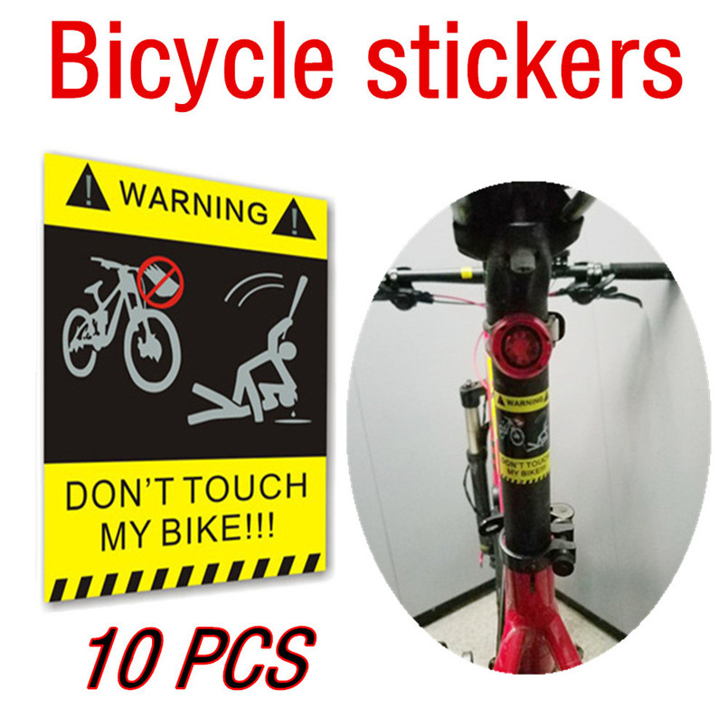 10Pcs Bicycle Stickers Yellow Warning Decals Stickers Signs For Bicycle Bike Security Cycling Outdoor Bicycle Accessories #4O05 brompton stickers