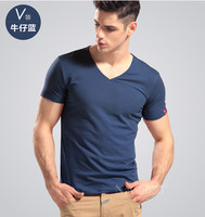 Spring Hot Sale Summer Short Sleeve Cotton Shirts Men V Neck T Shirt Slim Basic Free