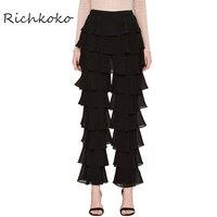 Richkoko Women Fashion Loose Wide Leg Solid Black Mid Waist Female Slim Trousers Casual Sexy Ruffles