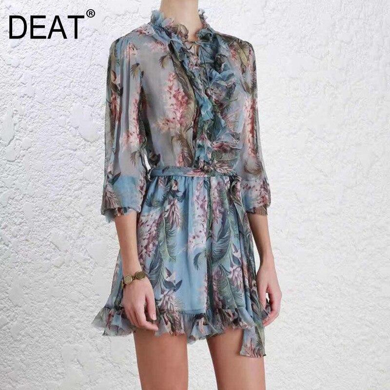 DEAT 2019 NEW spring European fashion women clothes V neck lantern sleeves ruffles flower printed baby
